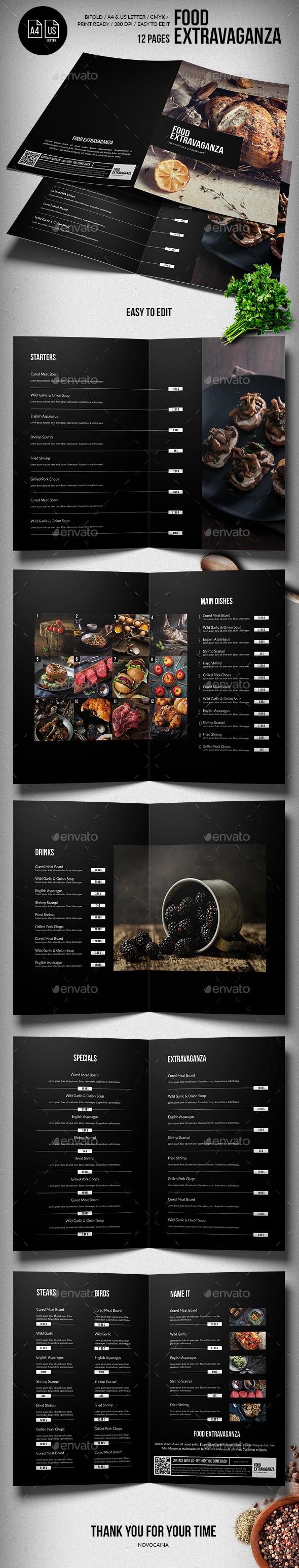 Multipurpose Extravaganza  Food Menu - 12 pgs - A4 & US Letter - Food Menus Print Templates
