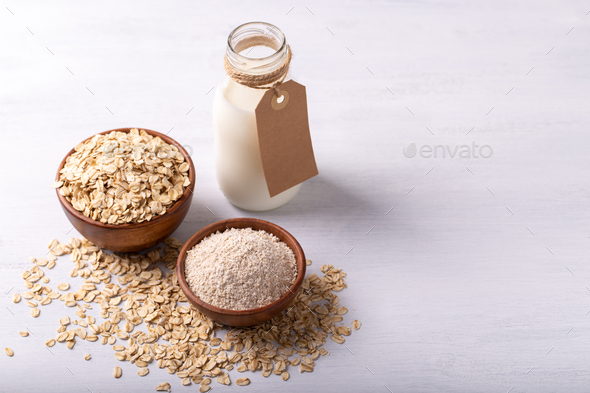 Oat flakes,flour and milk - Stock Photo - Images