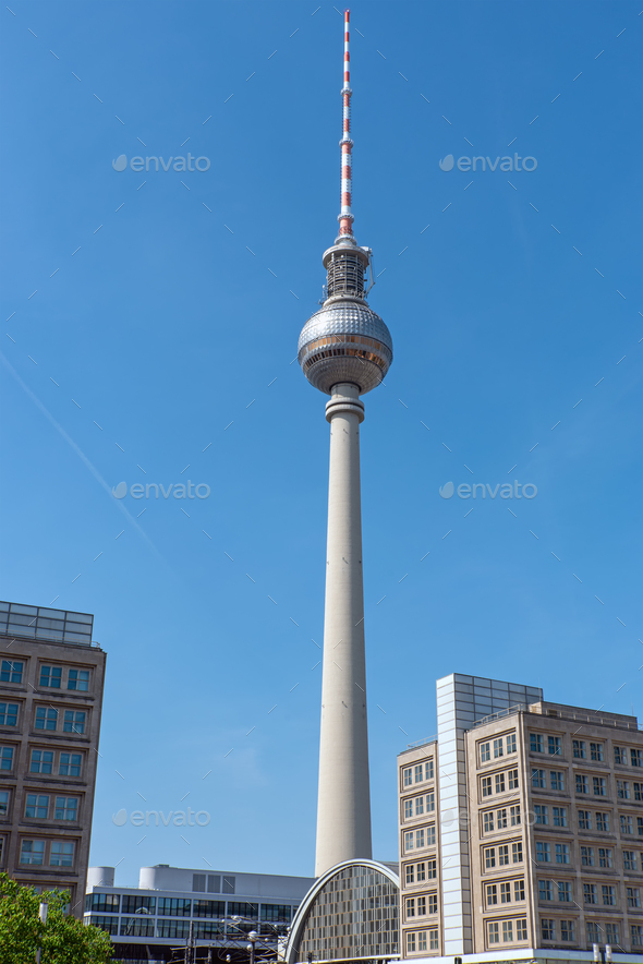 The Fernsehturm, Berlins most famous landmark - Stock Photo - Images