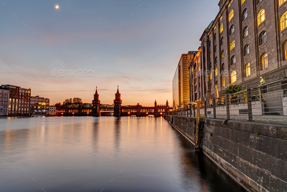 Beautiful sunset at the Oberbaumbridge - Stock Photo - Images