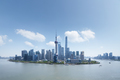 shanghai financial center against a blue sky, high angle view, like an island - PhotoDune Item for Sale