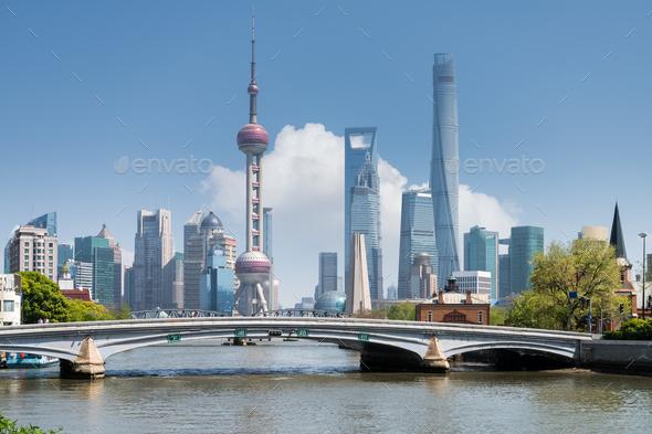 shanghai scenery on suzhou river - Stock Photo - Images