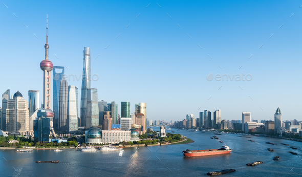 beautiful shanghai scenery on both sides of the huangpu river - Stock Photo - Images
