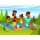 Vector Cartoon Family at Picnic Party