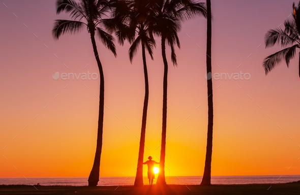Hawaiian sunset - Stock Photo - Images