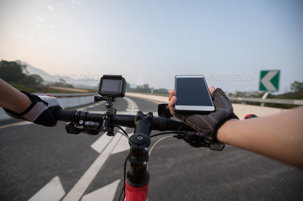 Cycling on city highway - Stock Photo - Images
