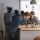 Two Guys Use Smartphone App at Office Kitchen. Happy Young European Men Using Social Networks at a - VideoHive Item for Sale