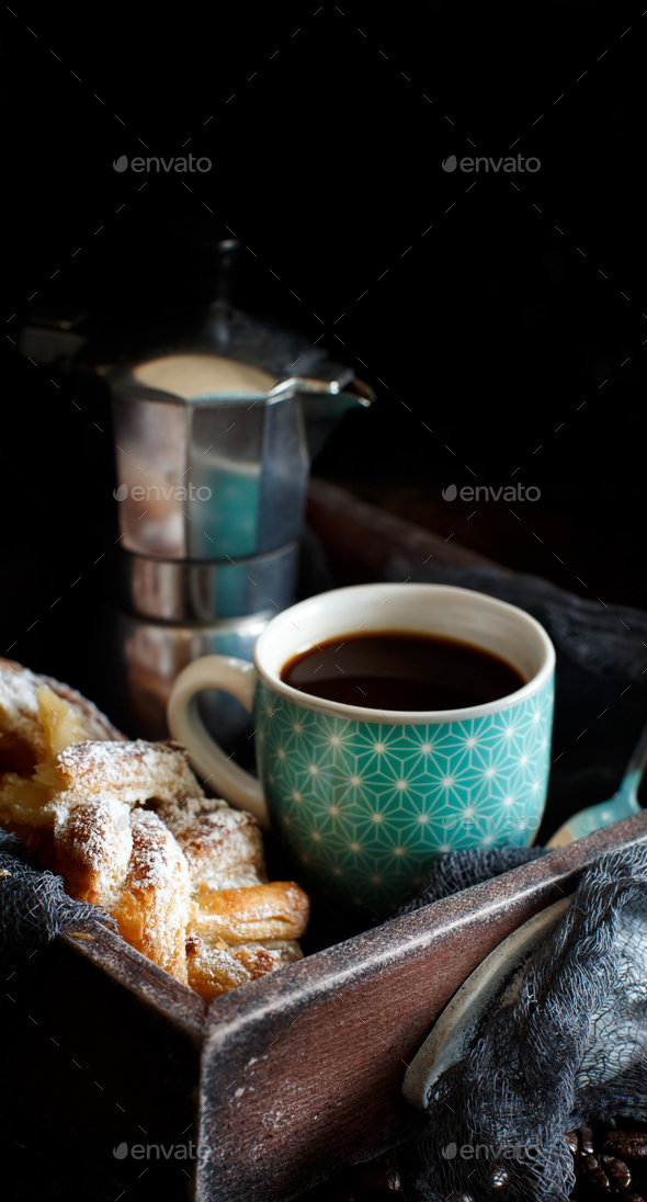 Italian coffee set for breakfast - Stock Photo - Images