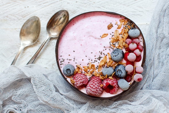 Wild berries smoothie bowls - Stock Photo - Images
