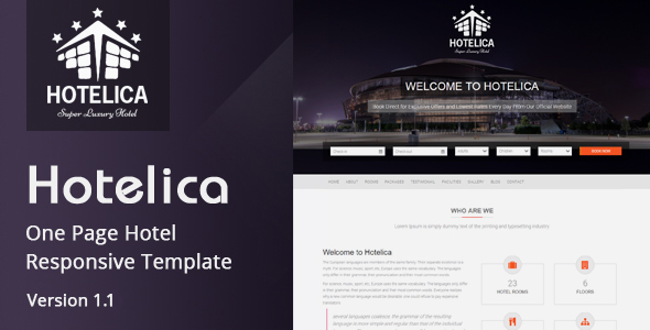 Hotelica - One Page Hotel Responsive Template - Site Templates
