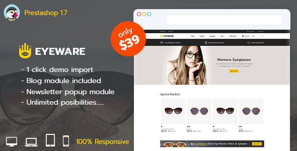 Image of Eyeware Fashion - Responsive Prestashop 1.7 Theme