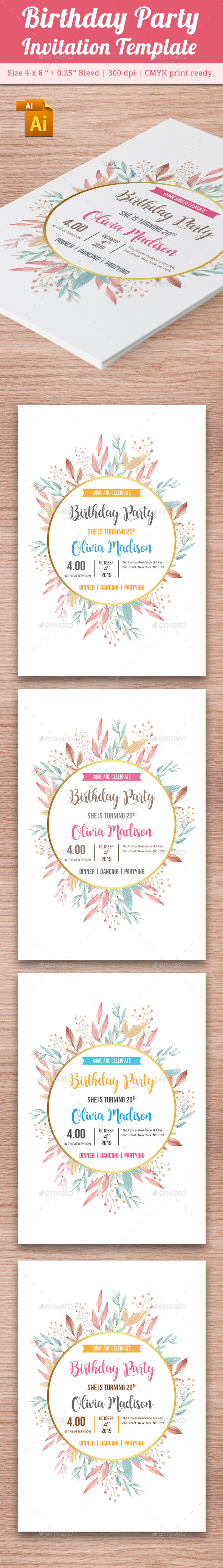 Birthday Party Invitation Template - Vol . 14 - Cards & Invites Print Templates