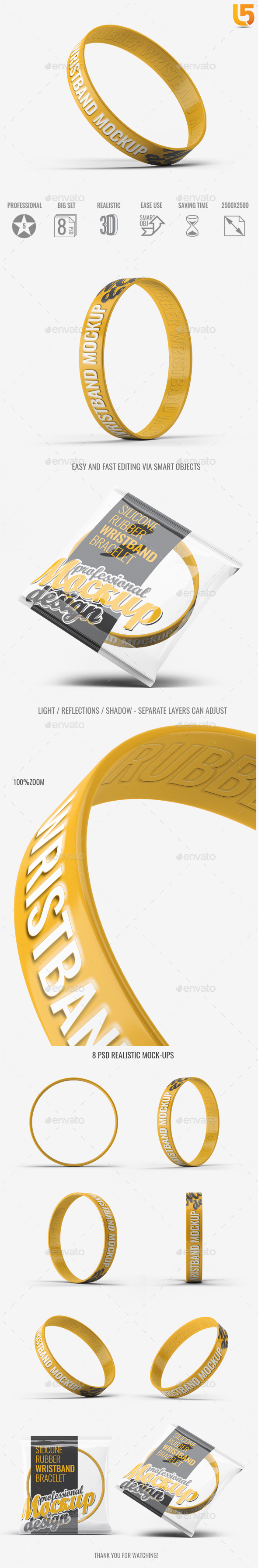 Silicone Rubber Wristband Bracelet Mock-Up - Miscellaneous Product Mock-Ups