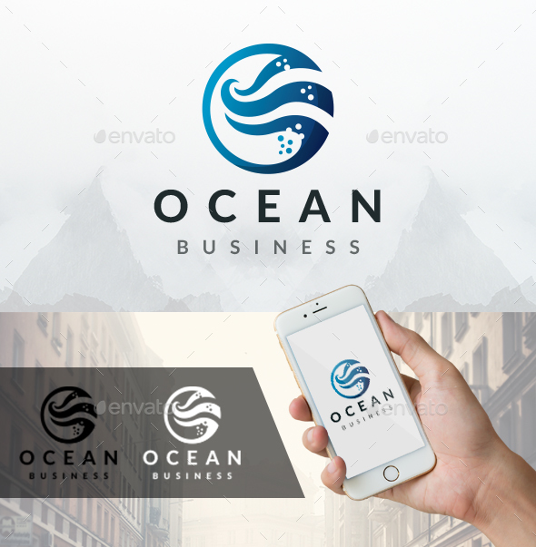 Ocean Water Waves Logo - Nature Logo Templates