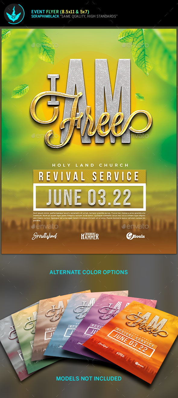 I Am Free Church Flyer Template - Church Flyers