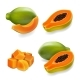Papaya Set, Pawpaw, Slice and Whole Juicy Fruit - GraphicRiver Item for Sale