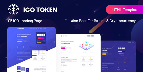 ICO TOKEN – Bitcoin & Cryptocurrency Landing Page HTML Template