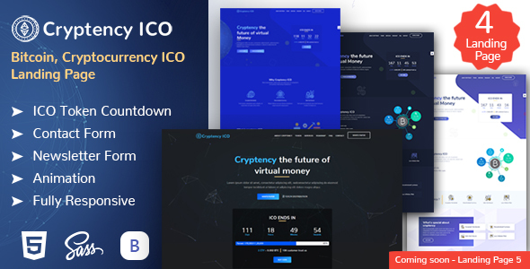 Cryptency ICO - Cryptocurrency and Bitcoin responsive landing page template - Marketing Corporate