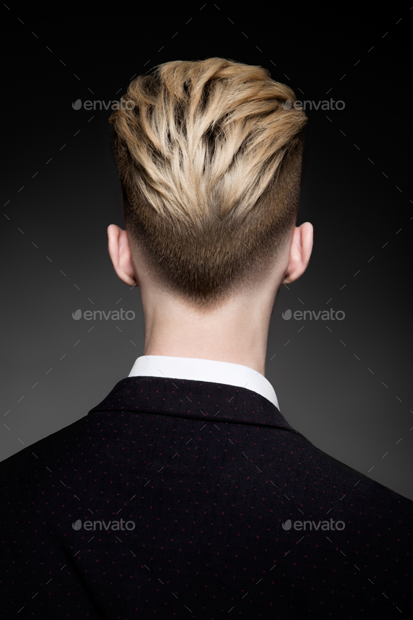 Back view of hairstyle for man - Stock Photo - Images