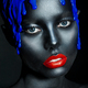 fashion portrait of a dark-skinned girl with color make-up. Beauty face. - PhotoDune Item for Sale