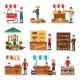 Flat Vector Set of Street Vendor Selling - GraphicRiver Item for Sale