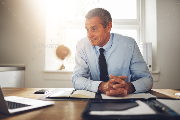 Mature businessman sitting in an office working with a laptop - Stock Photo - Images