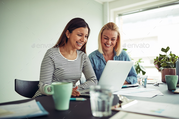 Two smiling businesswomen working online with a laptop together - Stock Photo - Images
