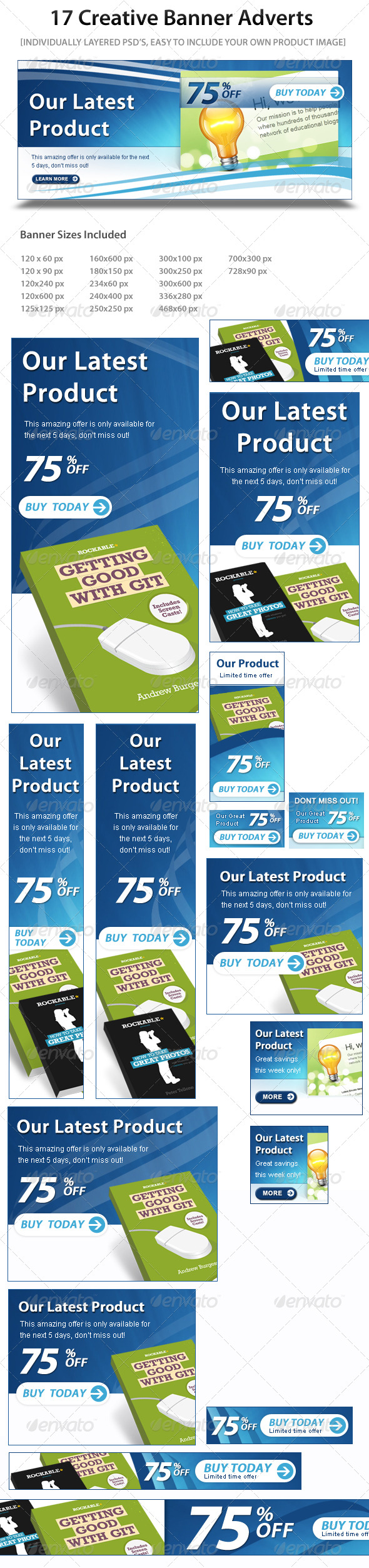 17 Web Marketing Banner Ads  - Banners & Ads Web Elements