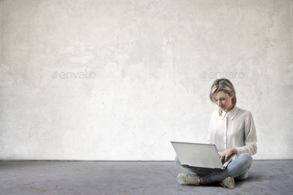 Woman with a laptop - Stock Photo - Images