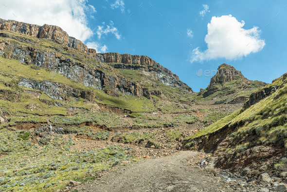 The hairpin bends in the Sani Pass - Stock Photo - Images