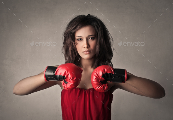 Woman with boxing gloves - Stock Photo - Images
