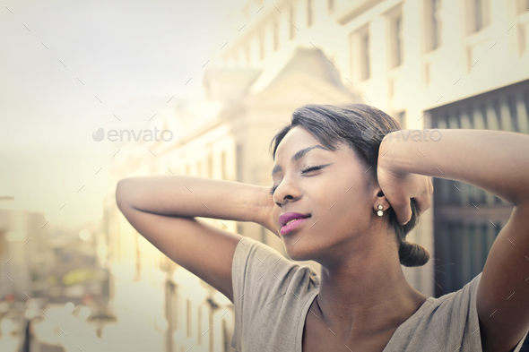Relaxed girl outdoor - Stock Photo - Images