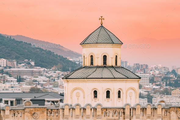 Tbilisi, Georgia. Exterior Of The Holy Trinity Cathedral of Tbil - Stock Photo - Images
