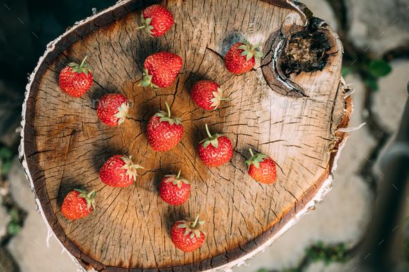 Strawberries. Ripe Strawberry Organic Berries. Juicy Fresh Ripe - Stock Photo - Images