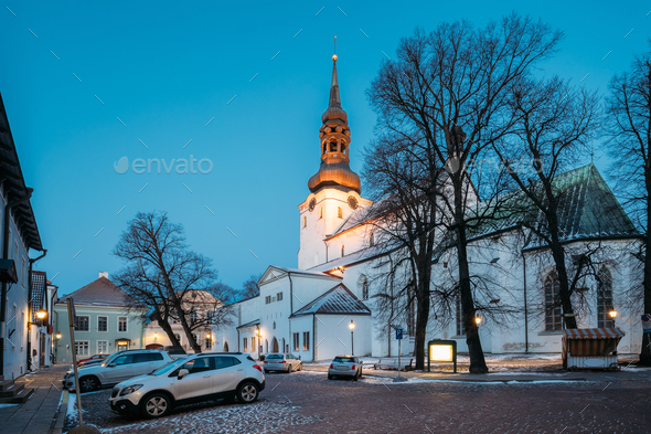 Tallinn, Estonia. Evening View Of Cathedral Of Saint Mary Virgin - Stock Photo - Images
