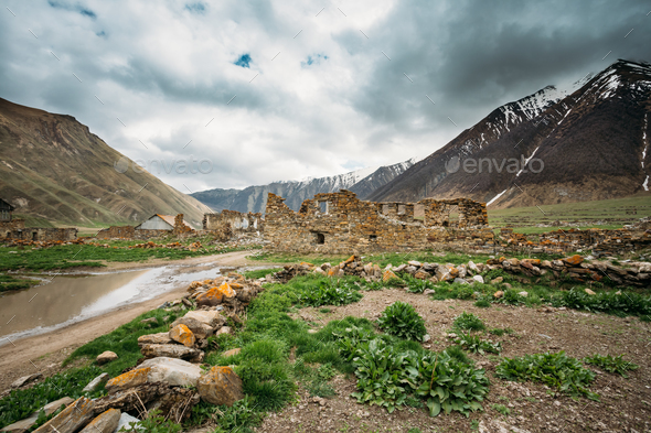 Old Abandoned Village With Dilapidated Ruined Houses In Ketrisi - Stock Photo - Images
