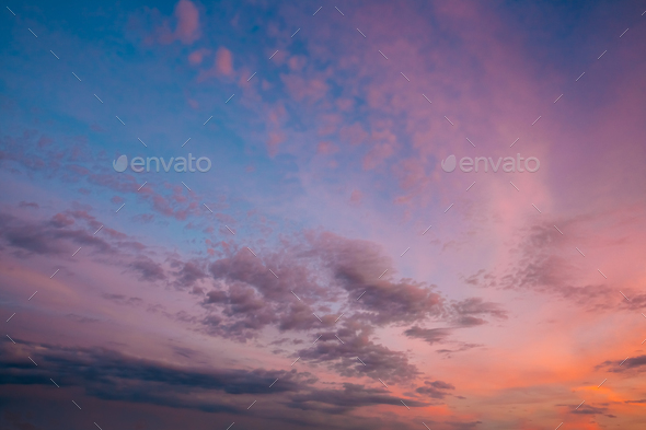Sky, Bright Blue, Pink And Purple Colors Sunset - Stock Photo - Images