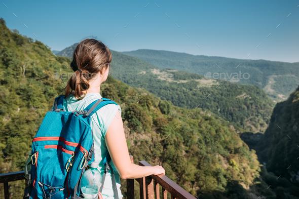 Zeda-gordi, Georgia. Back View Of Woman Standing On Narrow Suspe - Stock Photo - Images