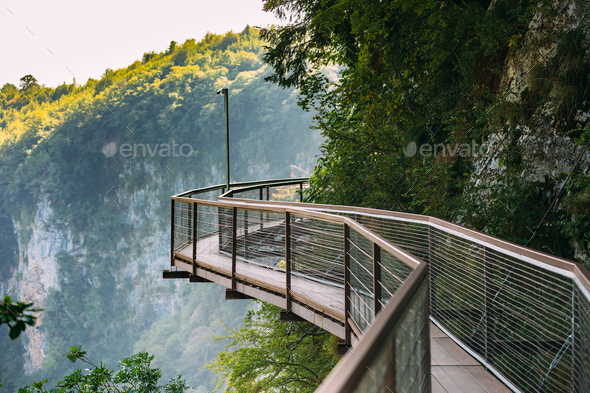 Zeda-gordi, Georgia. View Of Narrow Suspension Bridge Or Pendant - Stock Photo - Images