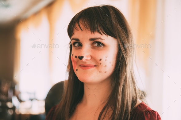 Portrait Of Beautiful Pretty Young Woman With Aqua Make-up - Stock Photo - Images