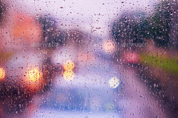 Water Drops Of Rain On Blue Glass Background. Street  Bokeh Ligh - Stock Photo - Images