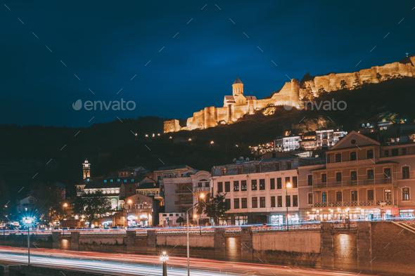 Tbilisi Georgia. Narikala Ancient Fortress In Evening Night Illu - Stock Photo - Images