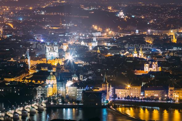 Prague Night Cityscape, Czech Republic. Charles Bridge And Vltav - Stock Photo - Images
