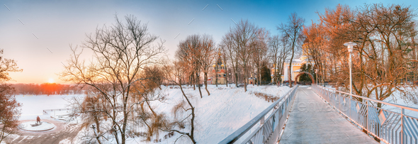 Gomel, Belarus. Sun Rising Over City Park At Winter Morning In G - Stock Photo - Images