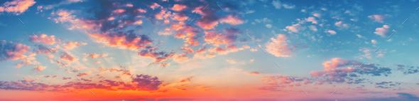 Panorama Sunset Sunrise Sky Background. Natural Bright Dramatic - Stock Photo - Images