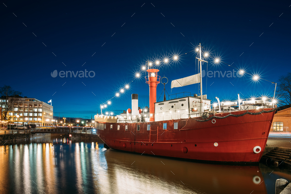 Helsinki, Finland. Moored Steamboat Restaurant In Evening Night - Stock Photo - Images