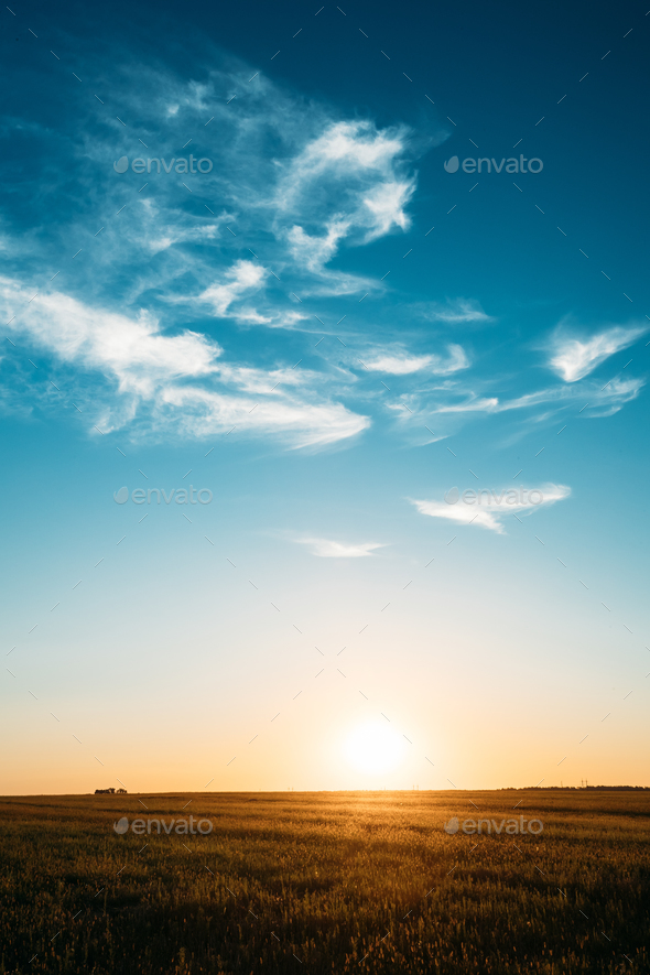 Sunset, Sunrise, Sun Over Rural Countryside Field. Bright Blue A - Stock Photo - Images