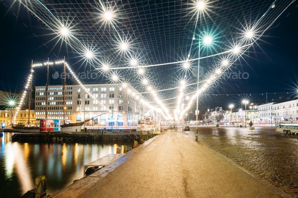 Helsinki, Finland. Evening Night Festive Christmas Xmas New Year - Stock Photo - Images