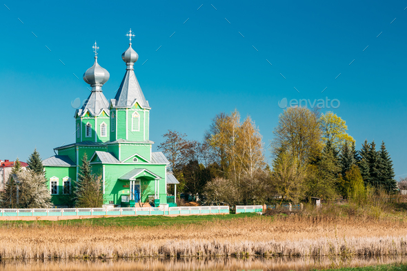 Old Orthodox Church Of The Holy Trinity In Village Krupets, Dobr - Stock Photo - Images