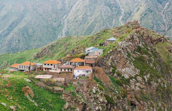 Village Tsdo In Truso Gorge, Kazbegi District, Mtskheta-Mtianeti - Stock Photo - Images